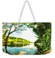 Weekender Tote Bag featuring the photograph Mohegan Lake By The Bridge by Derek Gedney