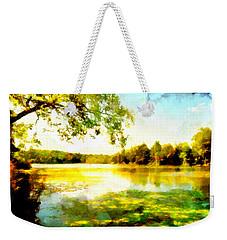Weekender Tote Bag featuring the painting Mohegan Lake Hidden Oasis by Derek Gedney