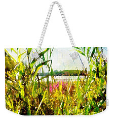 Weekender Tote Bag featuring the painting Mohegan Lake In The Brush by Derek Gedney