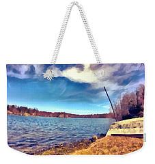 Weekender Tote Bag featuring the painting Mohegan Lake Lonely Boat by Derek Gedney