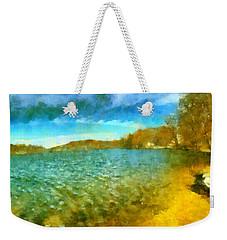 Weekender Tote Bag featuring the painting Mohegan Lake Panoramic Beach by Derek Gedney