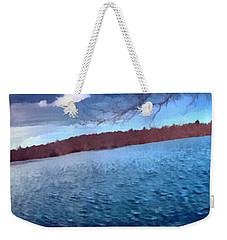 Weekender Tote Bag featuring the painting Mohegan Lake Panoramic Lake by Derek Gedney