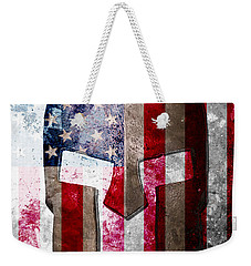 Molon Labe - Spartan Helmet Across An American Flag On Distressed Metal Sheet Weekender Tote Bag