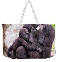 Mom And Baby Gorilla Sitting Weekender Tote Bag by Stephanie Hayes