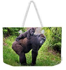 Mom And Baby Gorilla Weekender Tote Bag by Stephanie Hayes