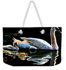 Mom And Baby Swan Weekender Tote Bag by Stan Hamilton