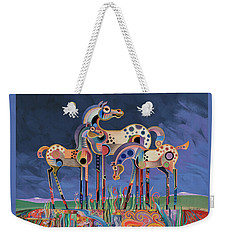 Weekender Tote Bag featuring the painting Mom And Foals by Bob Coonts