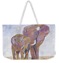 Weekender Tote Bag featuring the painting Mom And Me by Jamie Frier