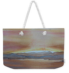 Weekender Tote Bag featuring the painting Moment By The Lake by Joel Deutsch