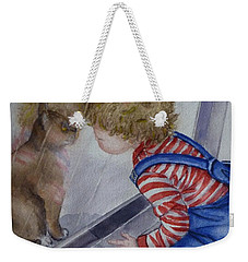 Weekender Tote Bag featuring the painting Mommy Kitty Wants To Come In... by Kelly Mills