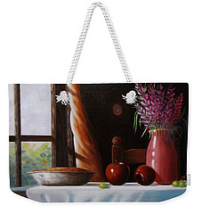 Weekender Tote Bag featuring the painting Mom's Apple Pie  by Gene Gregory
