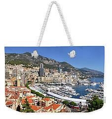 Weekender Tote Bag featuring the photograph Monaco Port Hercule Panorama by Yhun Suarez