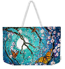 Monarch Butterflies In Teal Moonlight Weekender Tote Bag