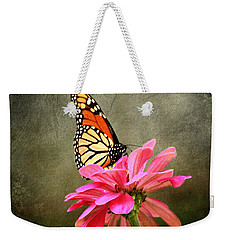 Monarch Butterfly And Pink Zinnia Weekender Tote Bag by Judy Palkimas