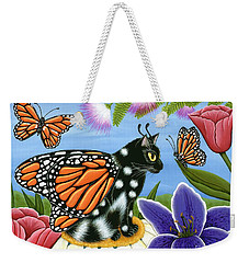 Monarch Butterfly Fairy Cat Weekender Tote Bag