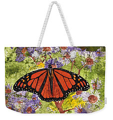 Monarch Butterfly On Purple Flowers Watercolor Batik Weekender Tote Bag