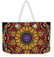 Monarch Butterfly Wings Kaleidoscope Weekender Tote Bag by Carol F Austin