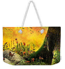 Monarch Meadow Weekender Tote Bag by Ally  White