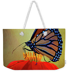 Weekender Tote Bag featuring the photograph Monarch On A Mexican Sunflower by Chris Lord