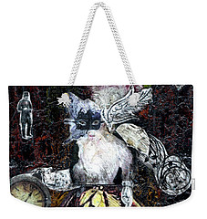 Weekender Tote Bag featuring the mixed media Monarch Steampunk Goddess by Genevieve Esson