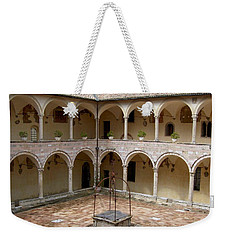 Monastery Courtyard Weekender Tote Bag by Judy Kirouac