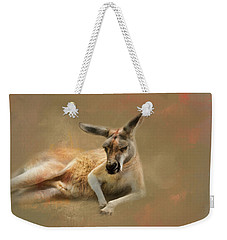 Monday Morning Drowsies Kangaroo Art Weekender Tote Bag by Jai Johnson