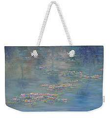 Monet Style Water Lily Peaceful Tropical Garden Painting Print Weekender Tote Bag
