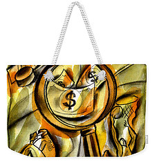 Weekender Tote Bag featuring the painting Money And Professional Sports   by Leon Zernitsky
