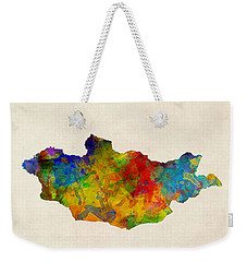 Weekender Tote Bag featuring the digital art Mongolia Watercolor Map by Michael Tompsett
