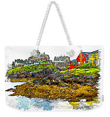 Weekender Tote Bag featuring the photograph Monhegan West Shore by Tom Cameron