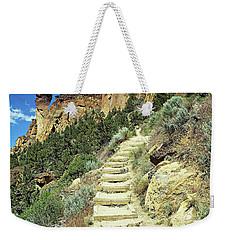 Weekender Tote Bag featuring the digital art Monkey Face Rock - Smith Rock National Park, Oregon by Joseph Hendrix