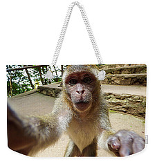 Monkey Taking A Selfie Weekender Tote Bag