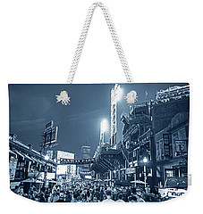 Monochrome Blue Nights Boston Ma Lansdowne St Fenway Park Game Night Weekender Tote Bag