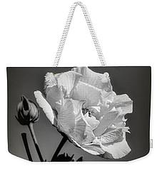 Weekender Tote Bag featuring the photograph Monochrome Rose Of Sharon by Elaine Teague