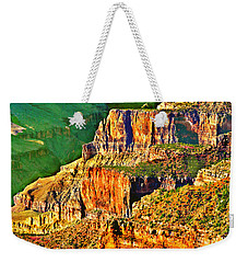 Weekender Tote Bag featuring the painting Monolith North Rim Grand Canyon by Bob and Nadine Johnston