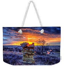 Monolithic Sunrise Weekender Tote Bag by Fiskr Larsen