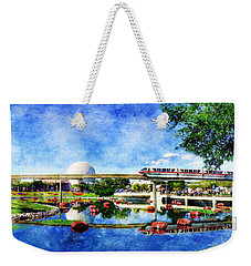 Weekender Tote Bag featuring the digital art Monorail Red - Coming 'round The Bend by Sandy MacGowan