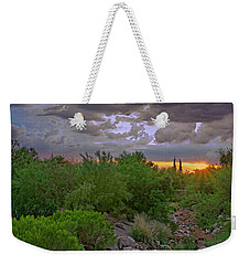 Weekender Tote Bag featuring the photograph Monsoon Sunset H56 by Mark Myhaver