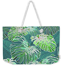 Monstera Jungle Teal Weekender Tote Bag