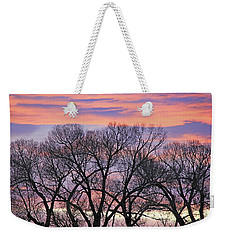Weekender Tote Bag featuring the photograph Montana Sunrise Tree Silhouette by Jennie Marie Schell