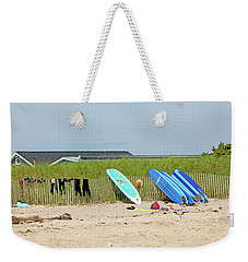 Weekender Tote Bag featuring the photograph Montauk Beach Stuff by Art Block Collections