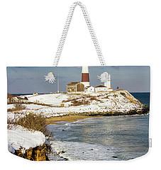 Montauk Lighthouse Winter Bluffs Weekender Tote Bag