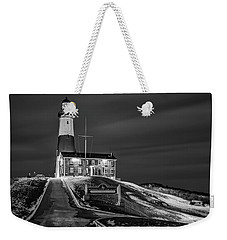 Weekender Tote Bag featuring the photograph Montauk Point Lighthouse Bw by Susan Candelario