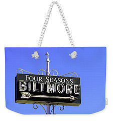 Weekender Tote Bag featuring the photograph Montecitio Biltmore Sign by Art Block Collections