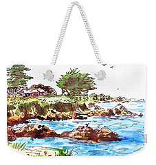 Weekender Tote Bag featuring the painting Monterey Shore by Irina Sztukowski