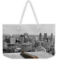 Montreal Cityscape Bw With Color Weekender Tote Bag