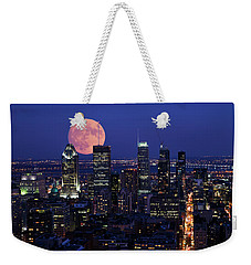 Weekender Tote Bag featuring the photograph Montreal Supermoon by Mircea Costina Photography