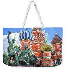 Weekender Tote Bag featuring the photograph Monument To Minin And Pozharsky by Delphimages Photo Creations