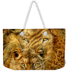 Weekender Tote Bag featuring the mixed media Moods Of Africa - Lions 2 by Carol Cavalaris