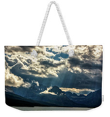 Moody Sunrays Over Glacier National Park Weekender Tote Bag